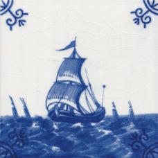 Dutch Delft Trade Boat Tile - Blue & White Or Sepia (ST132)
