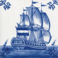 Dutch Delft Galleon Ship Tile - Blue & White Or Sepia (ST133)