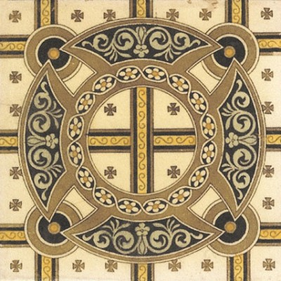 1890s Printed & Tinted Tile (ST159)