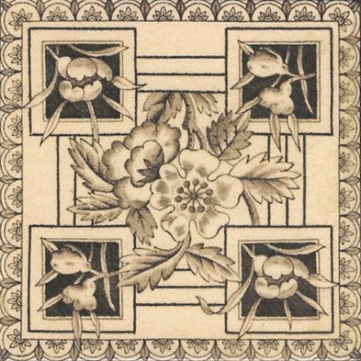 1890 Victorian Printed & Tinted Tile