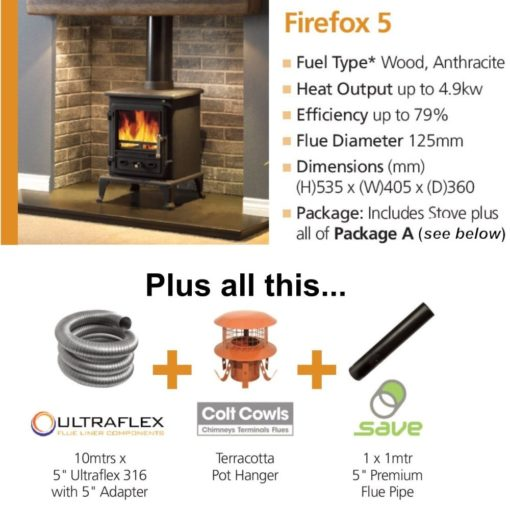 Firefox 5 Cleanburn Stove Package Deal