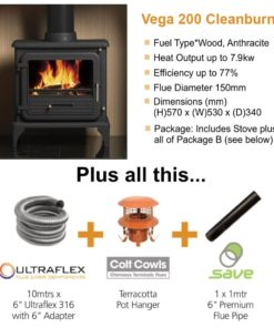 Vega 200 Cleanburn Stove Package Deal