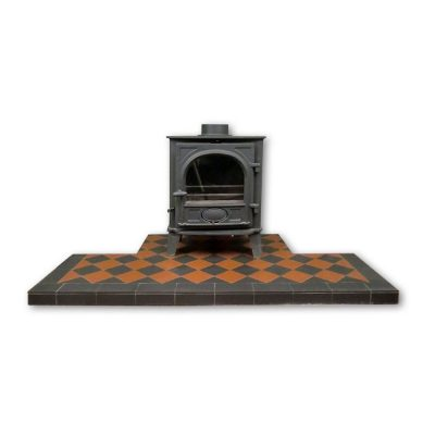 Black & Terracotta Diamond Quarry Tile Hearth - Pick Size/Colour