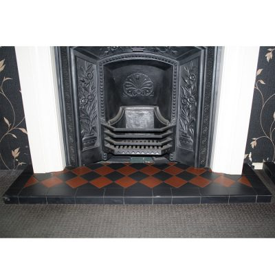 Black & Terracotta Diamond Quarry Tile Hearth