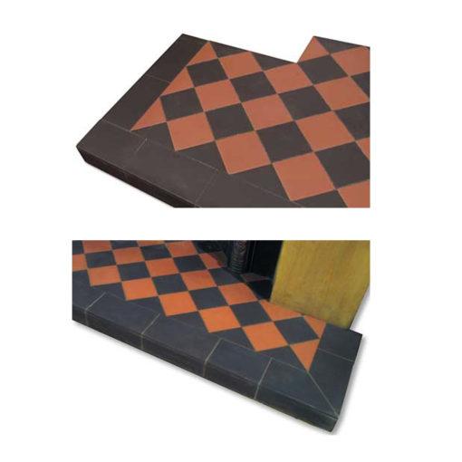 Black & Terracotta Diamond Quarry Tile Hearth