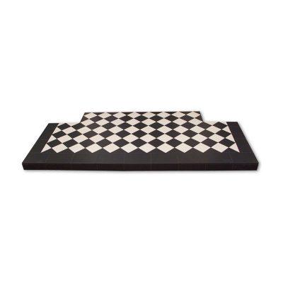 Black & White Diamond Quarry Tile Hearth - Pick Size/Colour