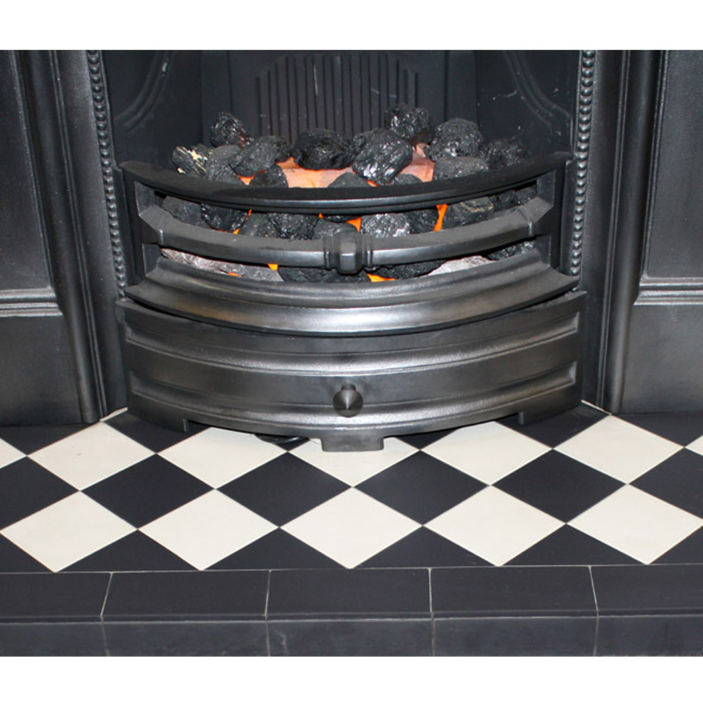 Black white diamond quarry tile hearth from vfs - Black and white fireplace ...