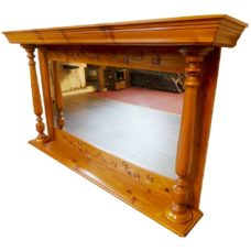"OM001 - Wooden Overmantel With Mirror (29.5""H x 53.25""W)"