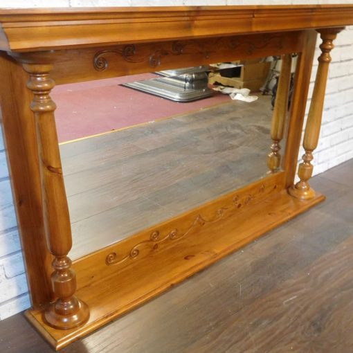 Wooden Overmantel With Mirror