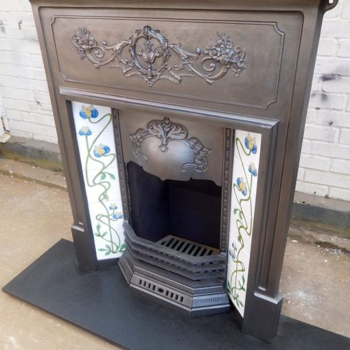 Combination Fireplace With Floral Breast