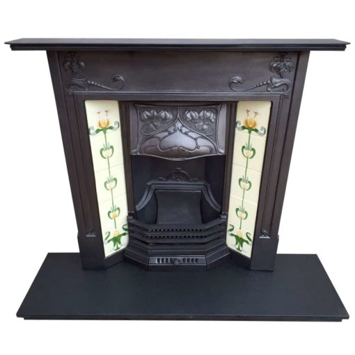 Art Nouveau Floral Combination Fireplace