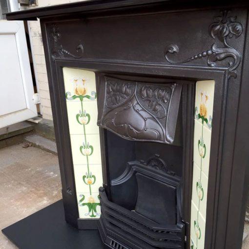 Art Nouveau Floral Combination Fireplace
