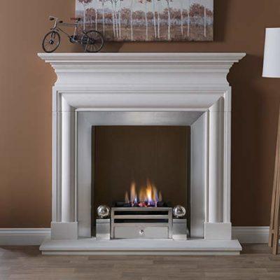 """Avellino Mantel Fire Surround (Agean Limestone) (57"""")"""