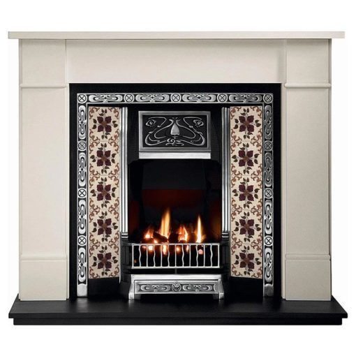 Art Nouveau Cast Iron Insert Fireplace
