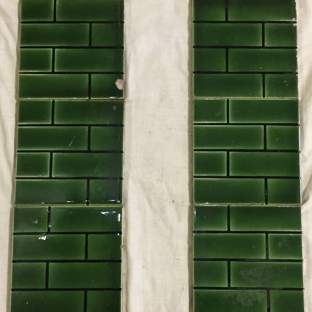 Green Brick Pattern Fireplace Tiles Buy From Victorian