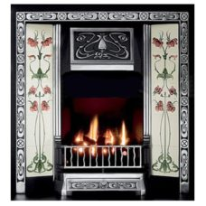GAL012 - Art Nouveau Cast Iron Insert Fireplace