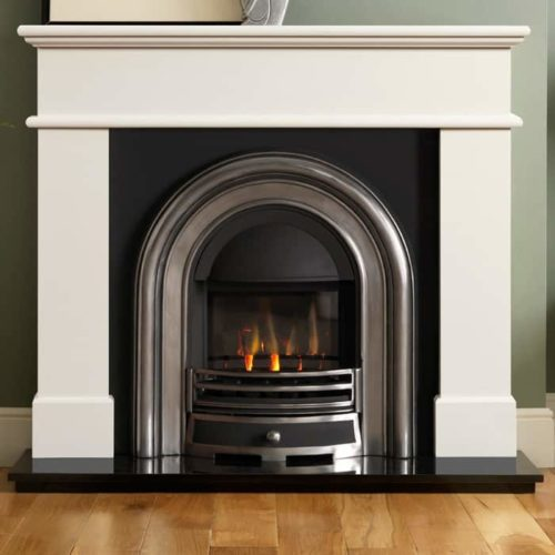 Pisa Ivory Perla Marble Fire Surround With Jubilee Insert