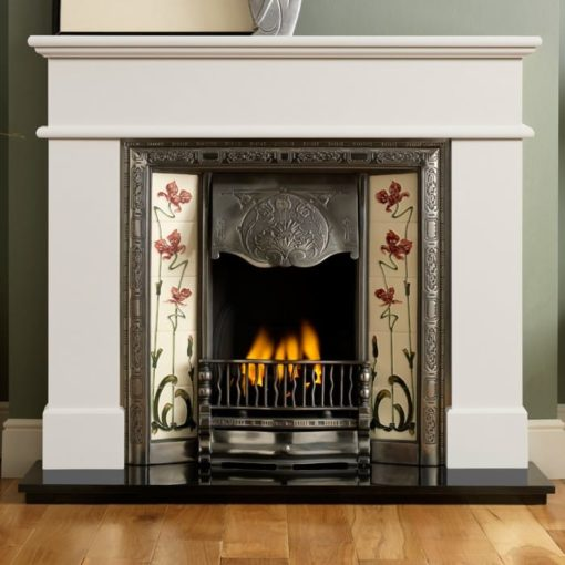 Pisa Ivory Perla Marble Fire Surround With Normandy Insert