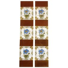 OT219 - Original Framed Flower Fireplace Tiles