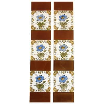 OT219 - Original Framed Flower Fireplace Tiles