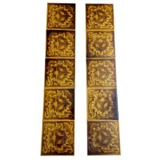 OT226 - Original Brown Floral Fireplace Tiles