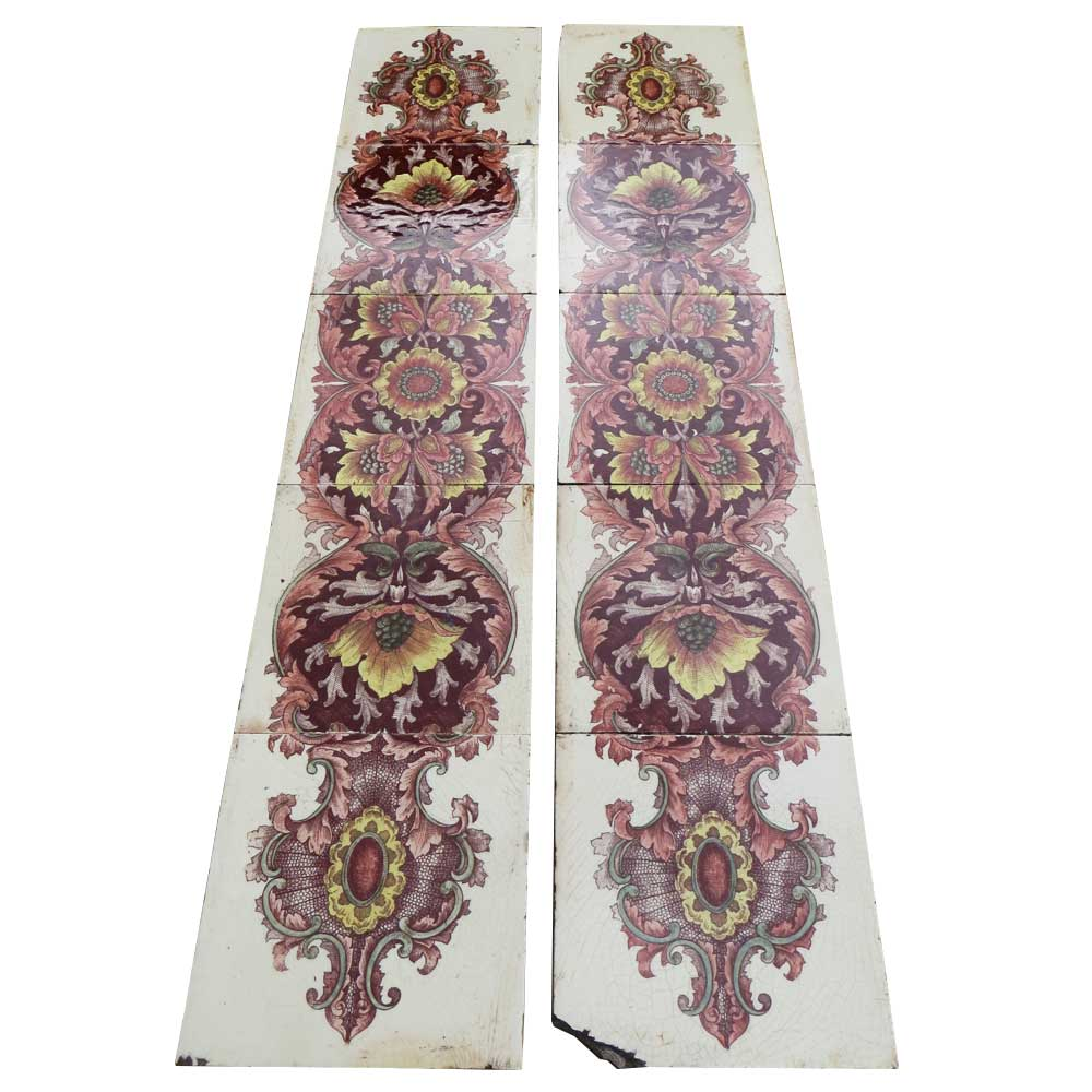 original floral antique fireplace tiles buy from victorian