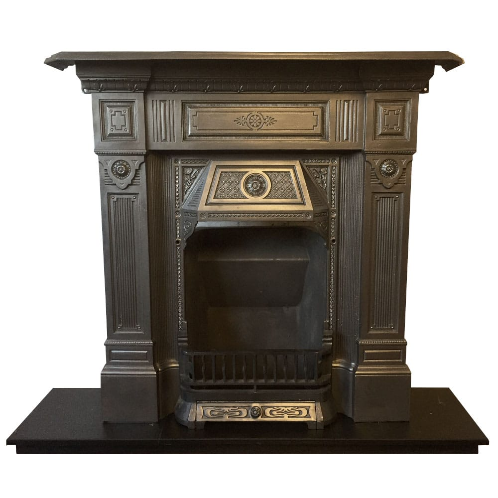 Victorian Fireplace: Antique Late Victorian Combination Fireplace