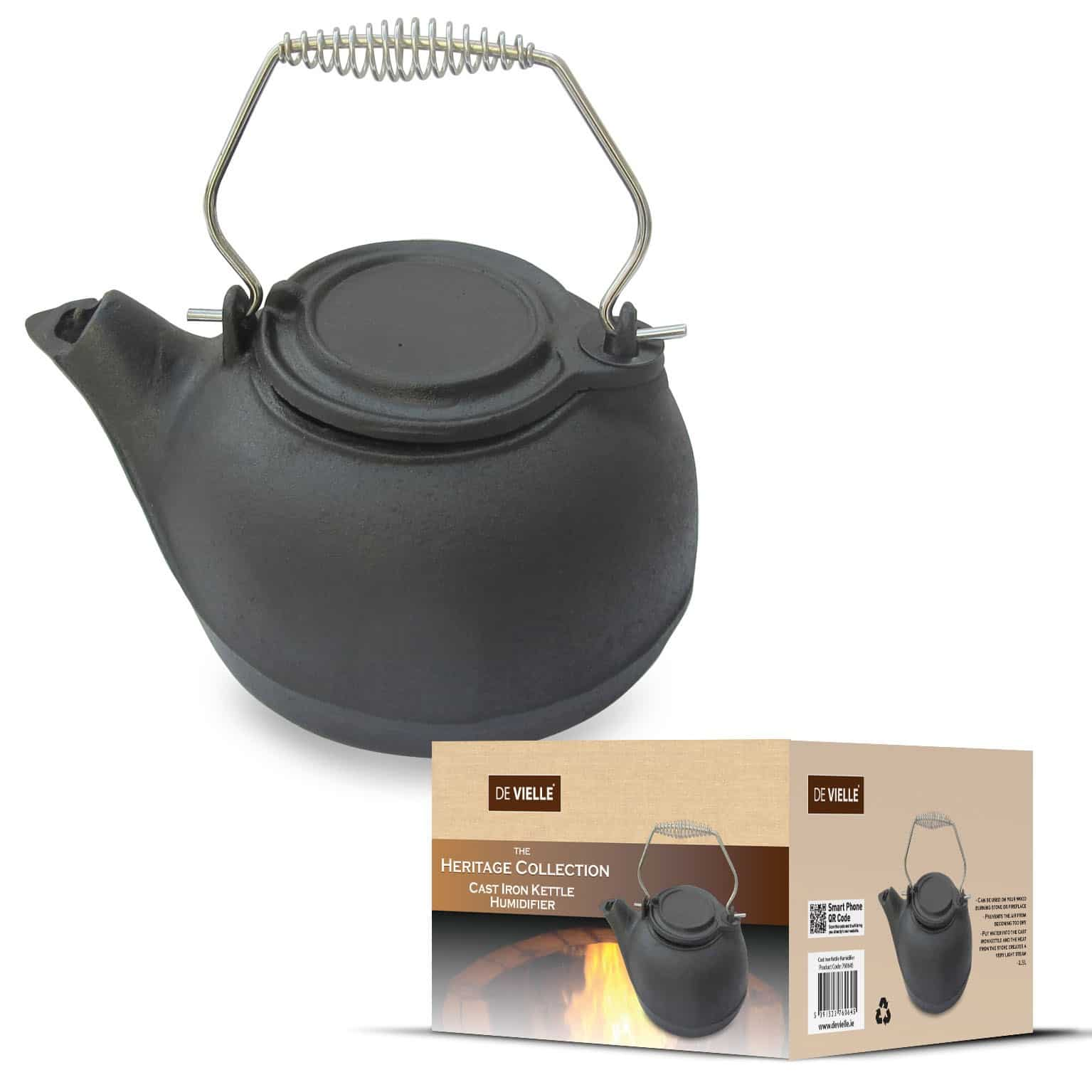 A cast iron kettle humidifier which can be used on your wood burning stove or fireplace to create a light steam and humidify the room naturally.
