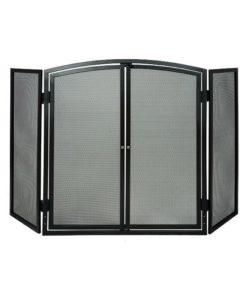De Vielle 3 Panel Fire Screen With Doors (Black)