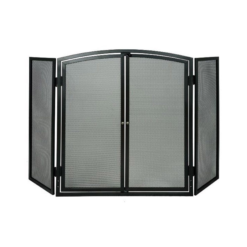 De Vielle 3 Panel Fire Screen With Doors - Victorian Fireplace Store