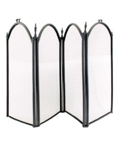 De Vielle 4 Fold Fire Screen (Black)