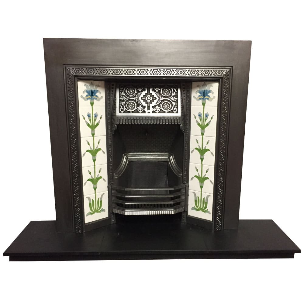 Tiled Cast Iron Fireplace Insert For Sale Victorian