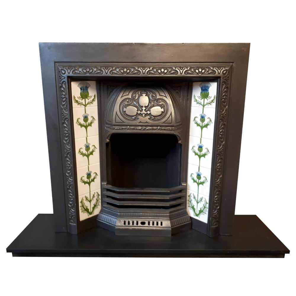 Original Floral Fireplace Insert For Sale Victorian
