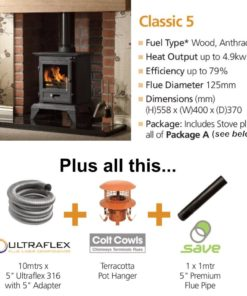 Gallery Classic 5 Cleanburn Stove Package Deal (4.9kW)