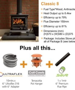 Gallery Classic 8 Cleanburn Stove Package Deal (8.4kW)