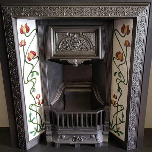INS351 - Antique Floral Insert Fireplace