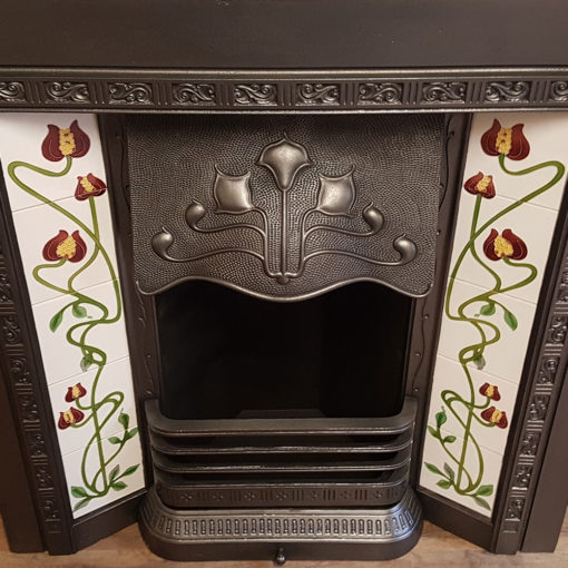 INS354 - Square Antique Fireplace Insert - Closeup