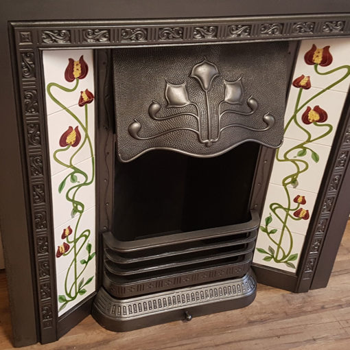 INS354 - Square Antique Fireplace Insert - Side