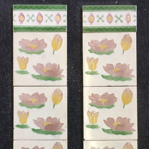 OT289 - Floral Decorated Fireplace Tiles - Closeup