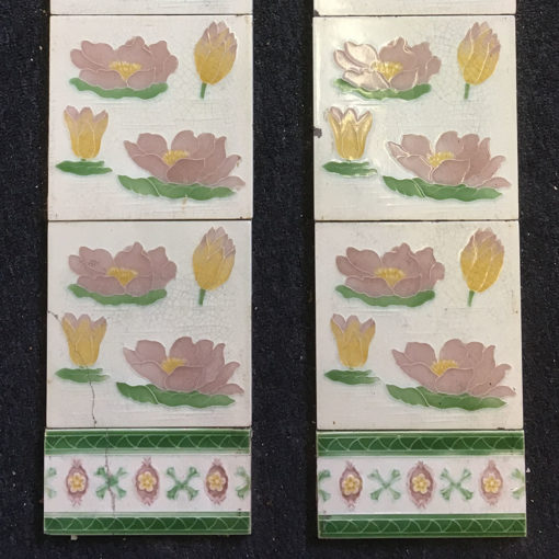 OT289 - Floral Decorated Fireplace Tiles - Bottom