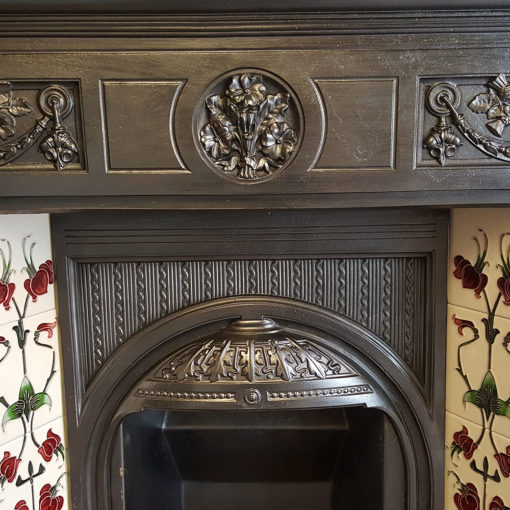 COMBI355 - Elaborate Cast Iron Combination Fireplace Front