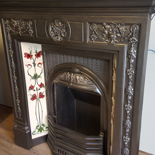 COMBI355 - Elaborate Cast Iron Combination Fireplace Side