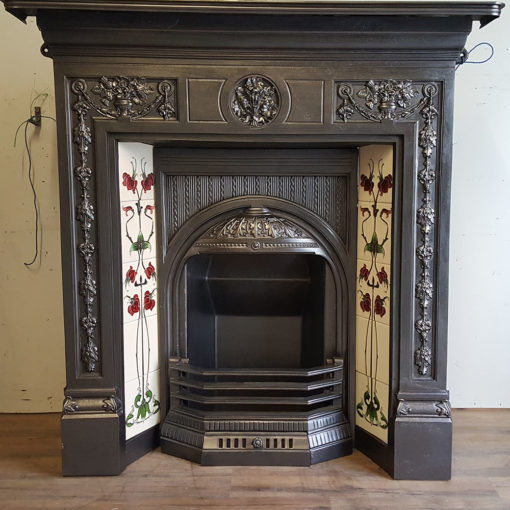 COMBI355 - Elaborate Cast Iron Combination Fireplace Unedited