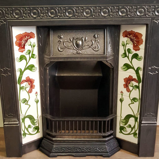COMBI354 - Tiled Cast Iron Combination Fireplace Closeup